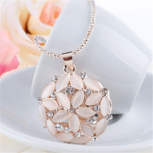 Buy LNRRABC Women Hollow 3D Opal Crystal Flower Long Pendant Necklace Silver Cute Gold Sweater Chain Fashion Jewelry for $1.38 in AliExpress store