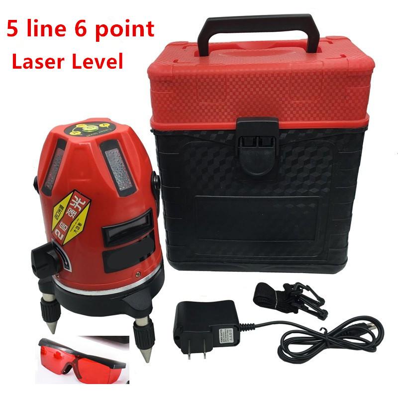 Laser Level 5 Lines 6 Points Laser Level with Tilt Slash Function/360 Rotary Self Leveling Outdoor EU 635nM Laser Level China(China (Mainland))