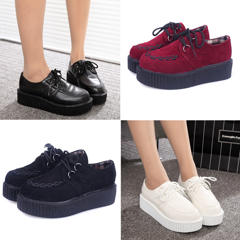 Creepers platform shoes zapatos mujer 2016 new fashion Casual Vintage creepers shoes woman plus size women Flats Shoes