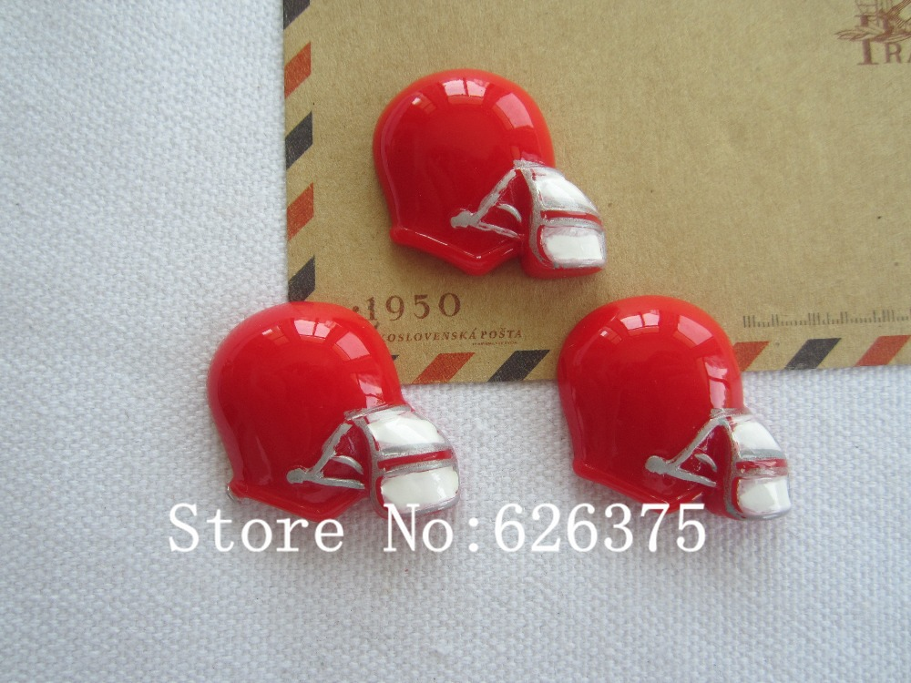 Rena!! Min.order $6 (mix order), Resin Hot Red US Football Helmet for Hair Bow Center Phone Deco DIY (27*25mm), Free Shipping(China (Mainland))