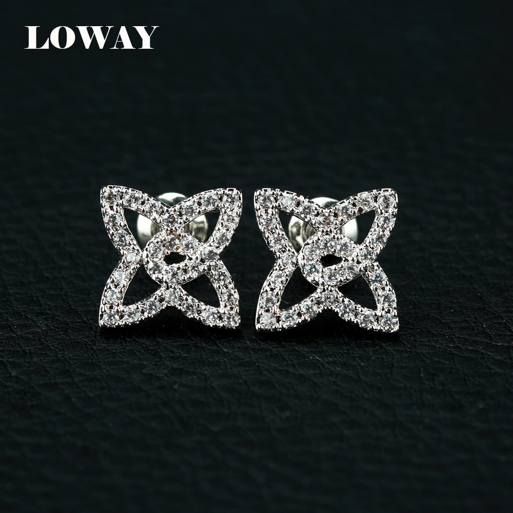LOWAY Platinum Plated Fashion Plant Design Cubic Zirconia Gift Stud Earrings Women ED2870 - Sinosso Import&Export Co., Ltd store
