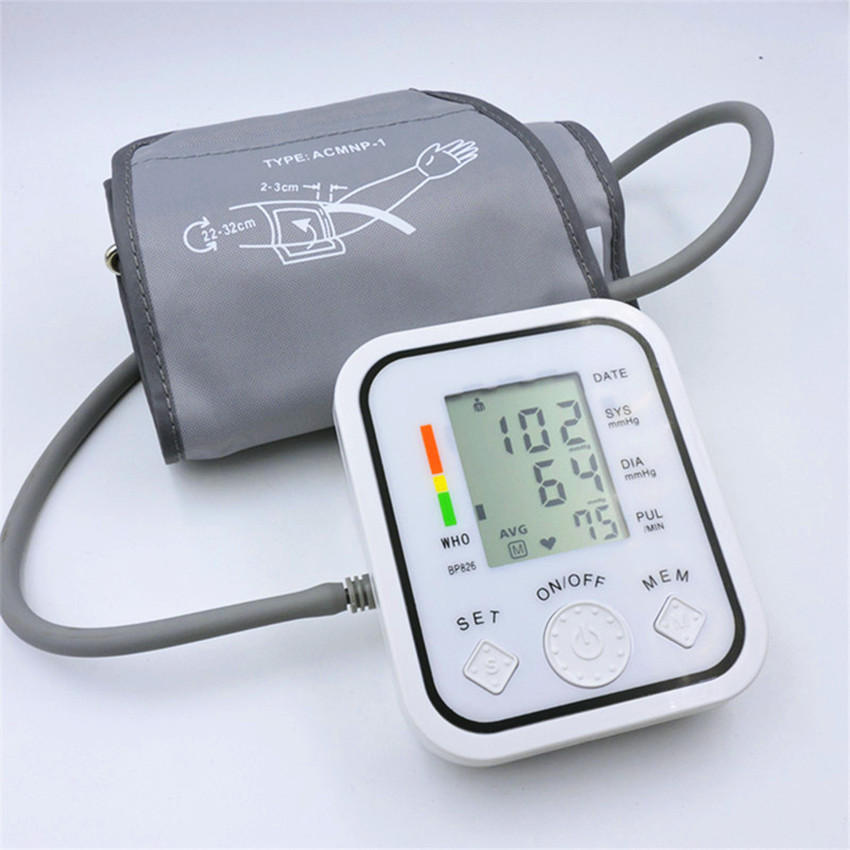 Full automatic upper arm blood pressure Monitors bp digital electronic sphygmomanometer tonometer Pulse heart rate monitor