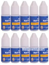 Nail Art Glue Tips Glitter UV Acrylic Rhinestones Decoration With Brush 10pcs/lot