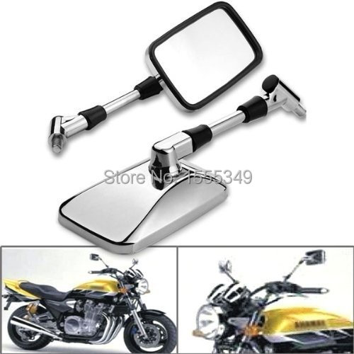 Custom Chrome Style Left & Right Motorcycle Mirrors For 10mm 8mm Honda Suzuki Kawasaki Cruiser Chopper Bobber Harley Davidson(China (Mainland))