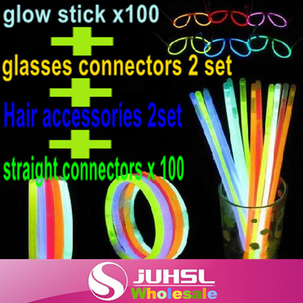 Discount package!! glow stick x 100+ straight connectors x 100 + glasses connectors x 2 set + Hair accessories x 2set,Party Fun(China (Mainland))