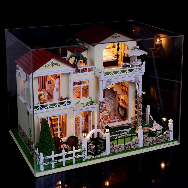 Large Diy Doll House Handmade Villa 3D Miniature Wooden Building Model Dollhouse Furniture Model Toys Of Houses Gift Have Glass(China (Mainland))