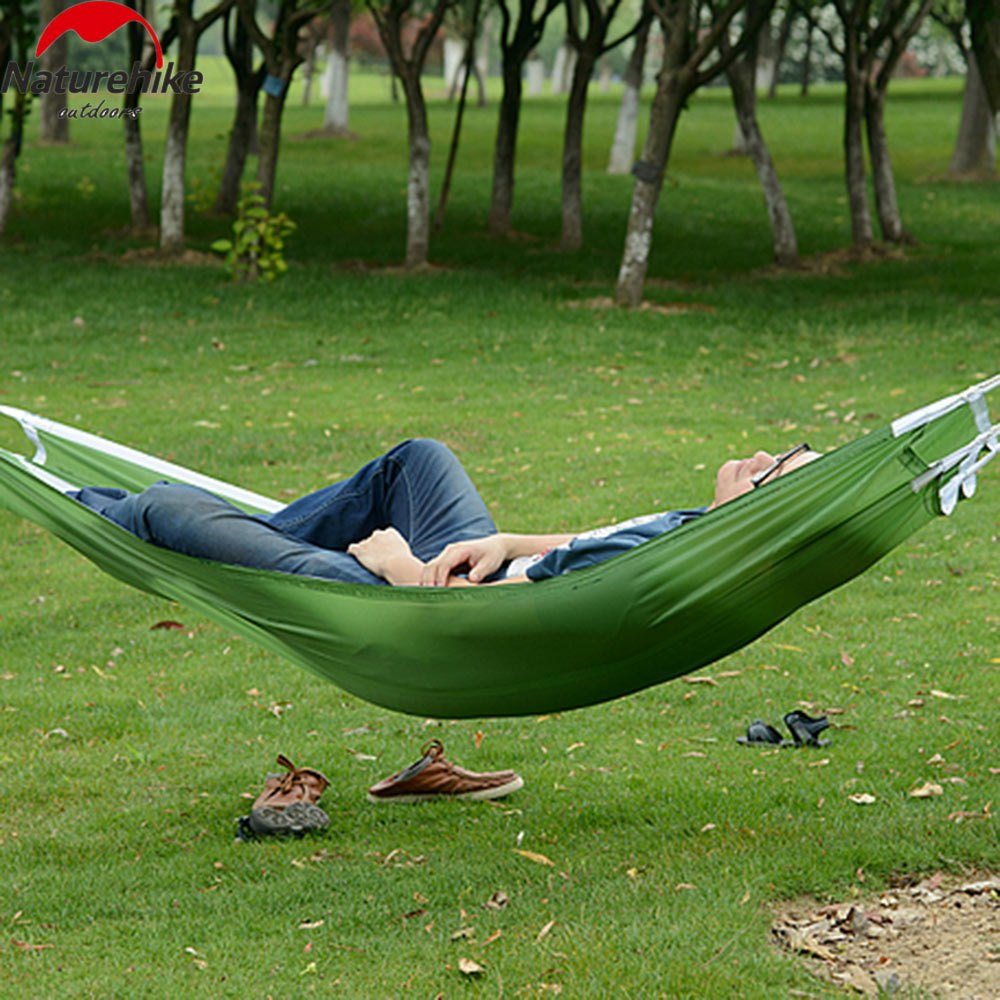 Hight Quality Nature Hike Parachute Nylon Fabric Hammock Outdoor Traveling Camping Single Person Sleeping Bed(China (Mainland))