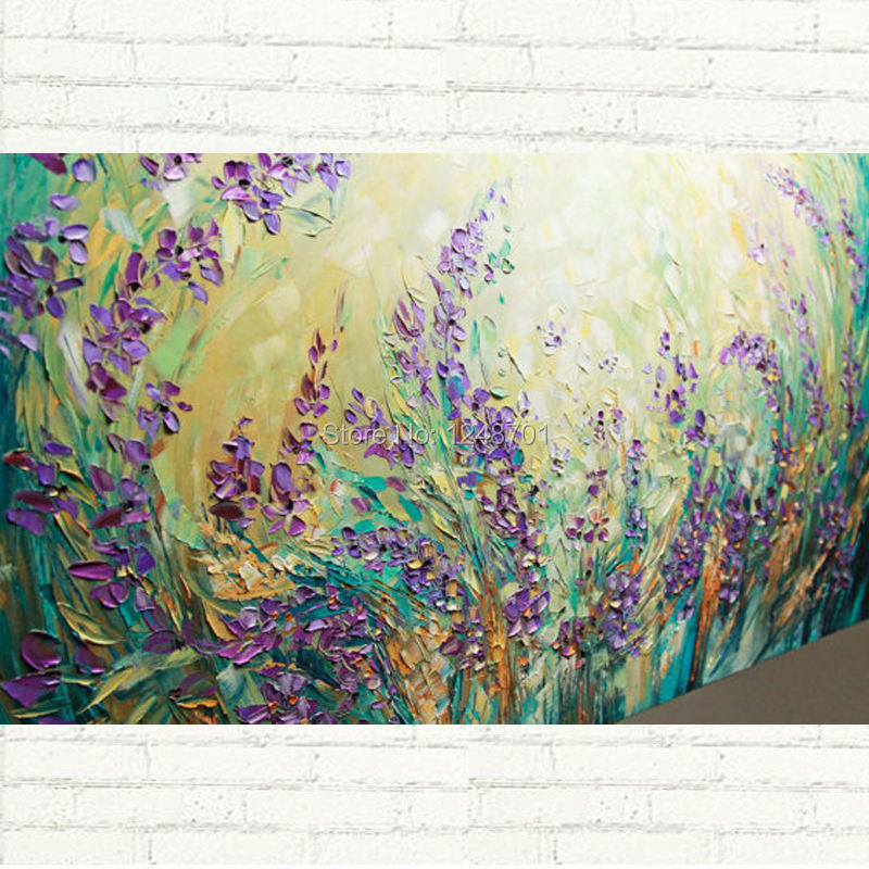 Buy Purple LARGE Landscape Scenic Flowers Abstract Oil Painting Contemporary Modern Textured Palette Knife cheap