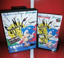 Sega MD game – Sonic the Hedgehog 1 with Box and Manual for 16 bit Sega MD game Cartridge Megadrive Genesis system
