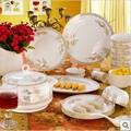 Bone china Tableware best 56pcs set tableware bowl plate dish set ceramics swan lake chinese style