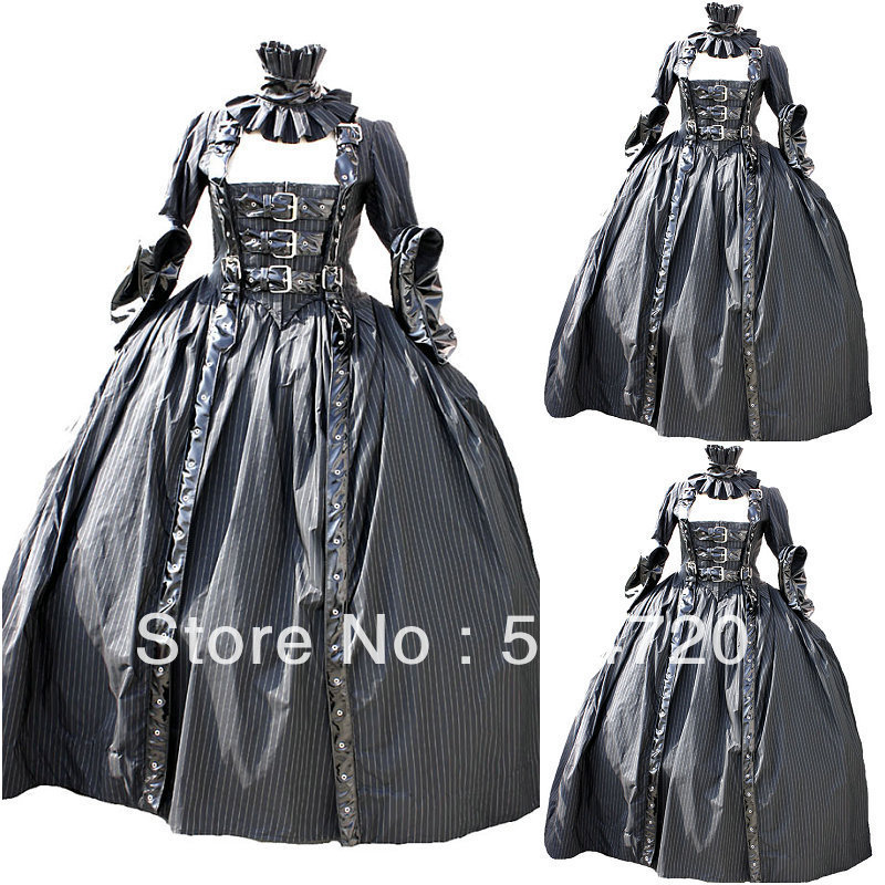 Freeshipping!19 Century Grey Civil War Southern Belle Gown Dress/Victorian/Lolita Scarlett dress US6-26 XS-6XL V-321(China (Mainland))