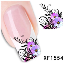 New Water Transfer Purple Flower Decal Women Stickers Nail Art Acrylic Manicure Tips DIY Decoration Sell(China (Mainland))