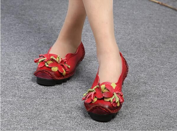 loafers women Super Soft Genuine Leather Flats Anti-Slippy Flowers Bright Color Shoes Pregnant shoe Vintage Handmade women shoes