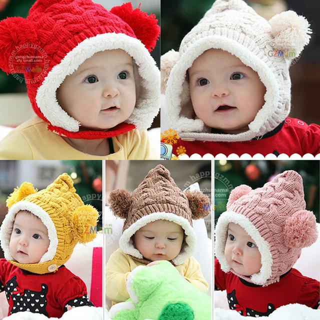 Прекрасный Зима Теплая Малыш Шляпы Девочка Мальчик Двойные Мячи Уха Шерсть Вязать Шапочки Крышки