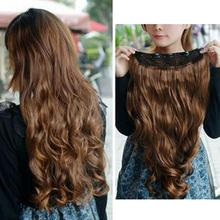 "2015 Highly Commend New Light Brown Women's Fashion Clip-on Hair Extensions 21.7"" Long Curly Wavy(China (Mainland))"