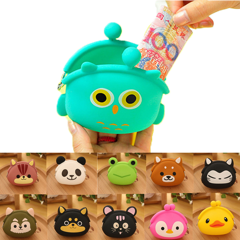 2015 New Fashion Lovely Kawaii Candy Color Cartoon Animal Women Girls Wallet Multicolor Jelly Silicone Coin Bag Purse Kid Gift(China (Mainland))