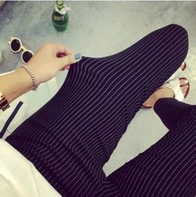 2015 new  summer style casual women British European style Plus Sizes feet pencil Pant stretch pants trousers vertical stripes(China (Mainland))