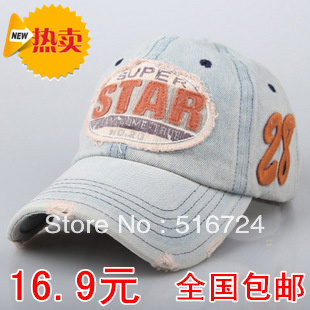 Free shipping Star tannase denim baseball cap hat retro finishing hat cowboy hat