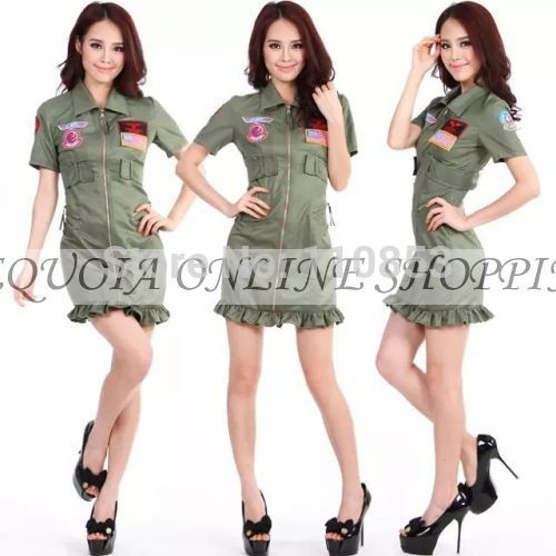 Free Ship New Women Pilot Performance Party Cosplay Classic Halloween Costume Female Christmas D1942E  -  Sequoia Trading Company (No. 2 store)