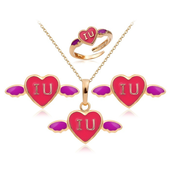 18k Yellow Gold Plated Pink Heart Wing Pendant & Necklace Ring Earrings Anti-Allergic Jewelry Sets For Baby Kids Child