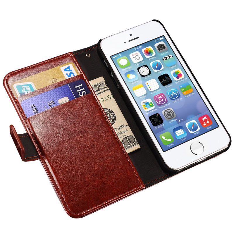 Luxury Wallet Flip Case iPhone 5s 5 SE Apple Brand PU Leather Cover + Card Holder Stand Phone Bag Coque Fundas iPhone5 - Tomkas Direct Store store