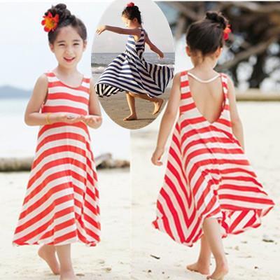 Girls bohemian beach dress girls striped princess dress children's clothing full dresses kids baby red navy blue 2014 New Alince(China (Mainland))