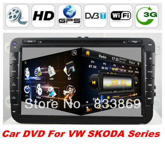 "Windows CE 6.0 OS 2din 8 ""Car DVD GPS for SKODA OCTAVIA II / III FABIA SUPERB With BT IPOD TV Radio/RDS AUX IN3DUI PIP TV(China (Mainland))"