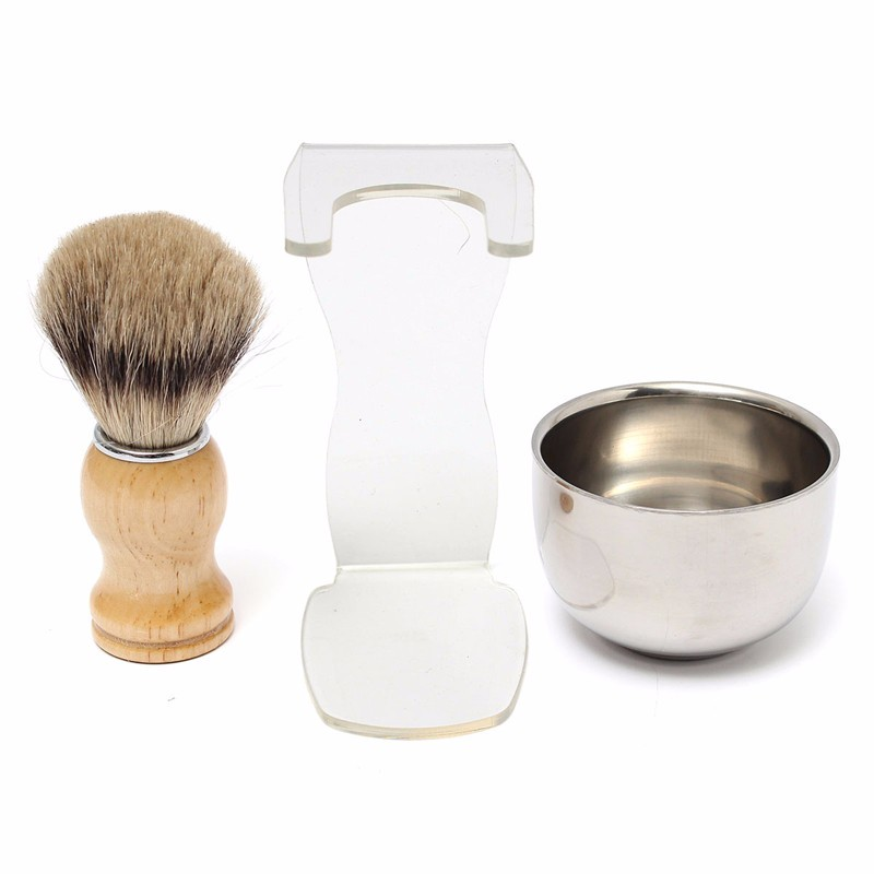 3Pcs/set 3 in 1 Men's Shaving Kits Best Badger Hair Brush and Clear Brush Stand and Steel Bowl Health Beauty Care Tool for Men(China (Mainland))