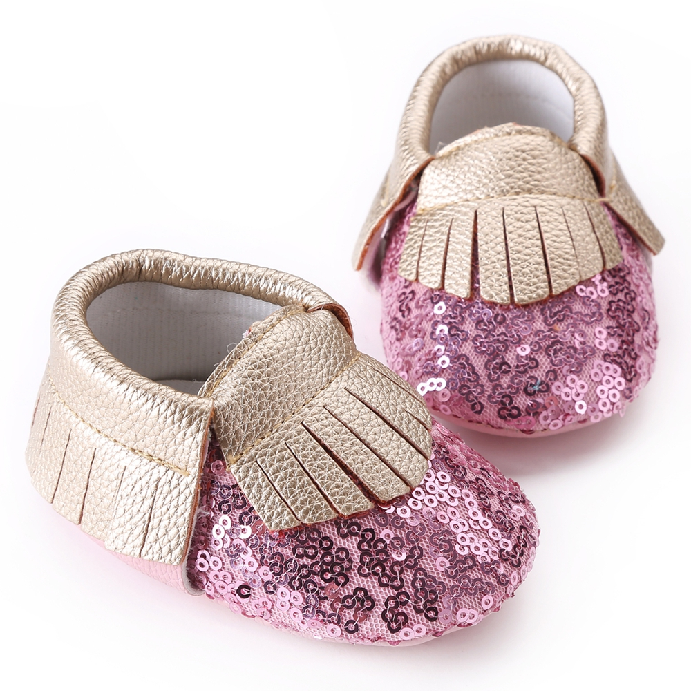 2016 New Bling PU Leather Slip-on Newborn Baby Girl Shoes,Spring/Autumn Gold fringe Soft Soled Kids Crib First Walkers #7P1003(China (Mainland))