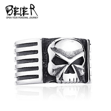 Men's Punk Biker Skull Simple Skeleton Ring Gothic Style Jewelry Stainless Steel Free Shipping BR8447 US Size