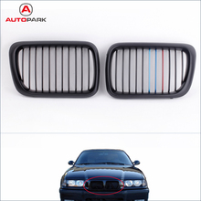 Automobiles Front Grills 2Pcs Matte Black M-color Front Kidney Grille for BMW E36 3 Series 1997-1999 Car Replacement for BMW(China (Mainland))