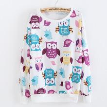 Bird Banana Owl Print Cute Thin Cotton Hoodies For Women Sport Suit Active Autumn Winter Pullovers Sweatshirts Women's Tracksuit(China (Mainland))