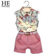 2015 New casual sleeveless summer baby boys girls Shirt + shorts + belt 3pcs suit  children clothing set