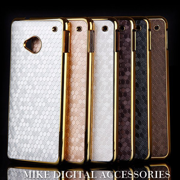 Luxury Gold Chrome Diamond Design Hard Case Cover HTC One M7 - Mike digital accessories store