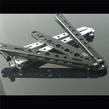 Cheapest Practice Butterfly Metal Balisong Trainer Training Knife Security Tool Free Shipping