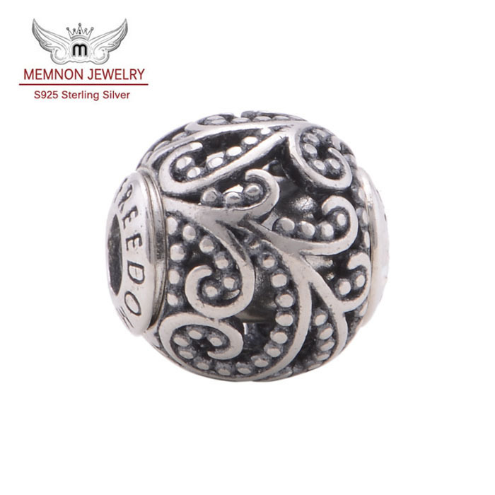 2014 New fine jewelry European Small Beads note FREEDOM Charms 925 sterling silver jewelry fit bracelet diy wholesale ST102