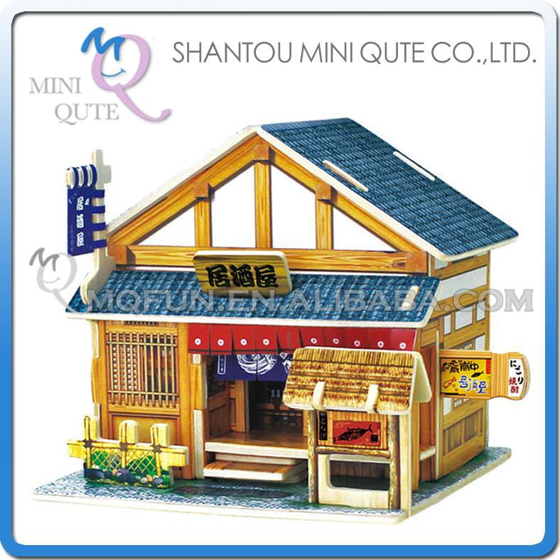 30pcs/lot Mini Qute 3D Wooden Puzzle Japanese Tavern architecture famous building Adult kids model educational toy gift NO.F121(China (Mainland))