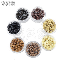 H.P.W. 5.0mm 100pcs Hair Beads Silicone Micro Rings Hair Extensions Tools Beads Tube For Prebonded Hair Kits 7 Colors Available(China (Mainland))