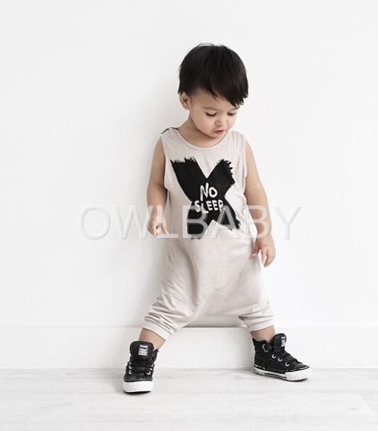 One Piece Fashion Unisex Boys&Girls Audel Cotton NOSLEEP letter BodySuit,Baby BoyS&Girls Cross Pattern Bodysuit Pls See real Pic(China (Mainland))