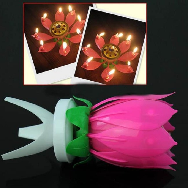 3pcs musical lotus flower 8 candles happy birthday romantic party gift