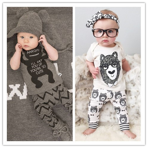 Retail 2015  2pcs baby boy clothes summer style infant clothes baby clothing sets boy Cotton little monsters short sleeve(China (Mainland))