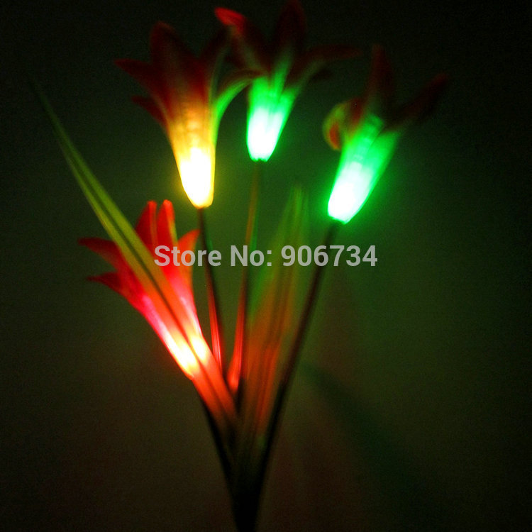 Solar Power lily Flower LED Light Garden Yard Lawn View Lamp Free Shipping