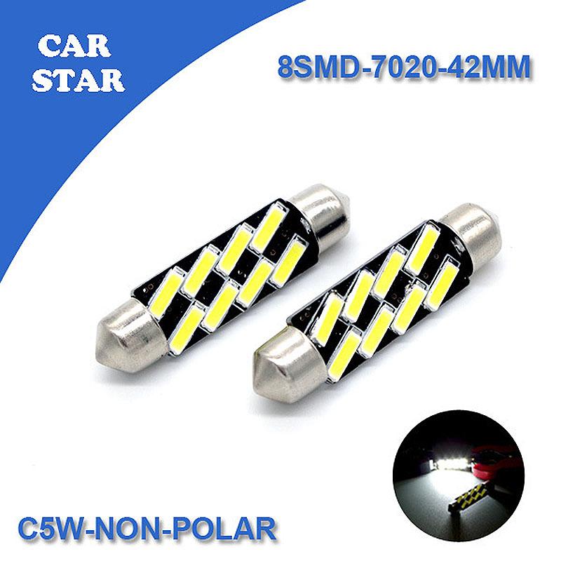 2 шт. автомобиля из светодиодов 42 мм C5W ошибок 8SMD 7020 авто купол свет фестона для автомобиля из светодиодов лампы для audi a4 b8 volkswagen бесплатная доставка