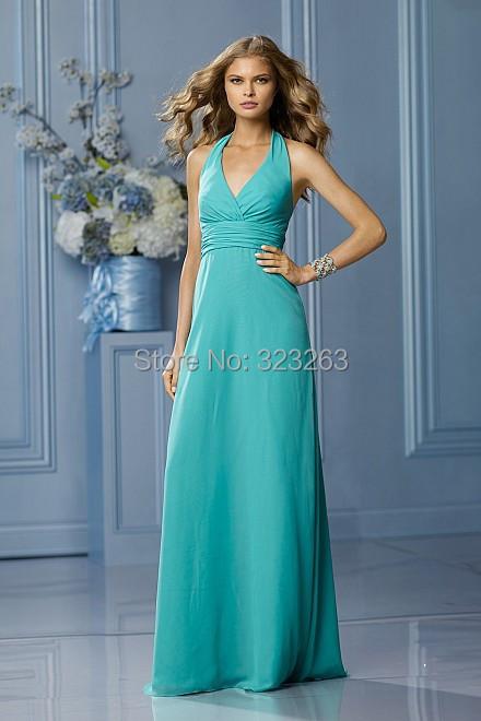 Halter top long turquoise bridesmaid dress wedding guest for Turquoise wedding guest dress