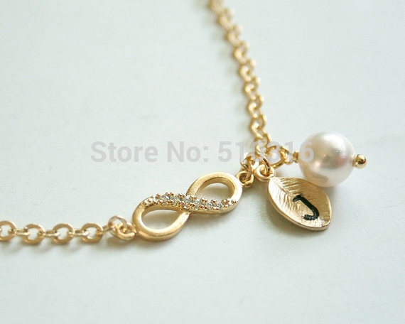 1pcs women infinity 8 bracelet jewelry 18k gold silver for Letter j bracelet