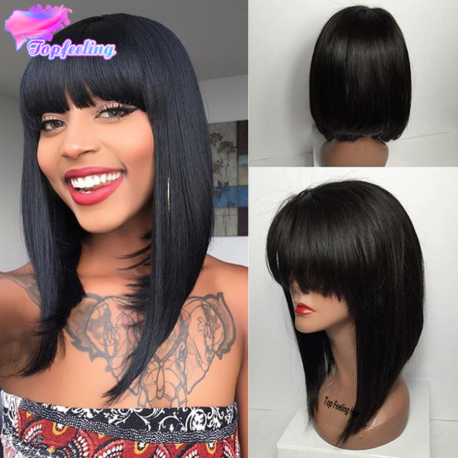 Short Human Hair Bob Wig With Bangs Brazilian Full Lace Human Hair Wigs 8A Bob Wigs For Black Women Glueless Lace Front Bob Wigs