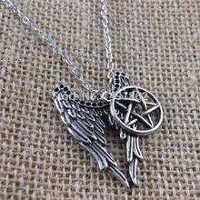Free Shipping 1PCs Pentagram Necklace Pendant Castiel Wings Angel Wicca US Seller Jewelry for Christmas Gift