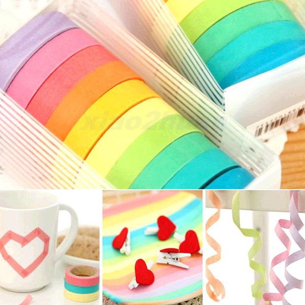 C18 Free shiping 10x Rainbow Washi Sticky Paper Masking Adhesive Decorative Tape Scrapbooking DIY<br><br>Aliexpress