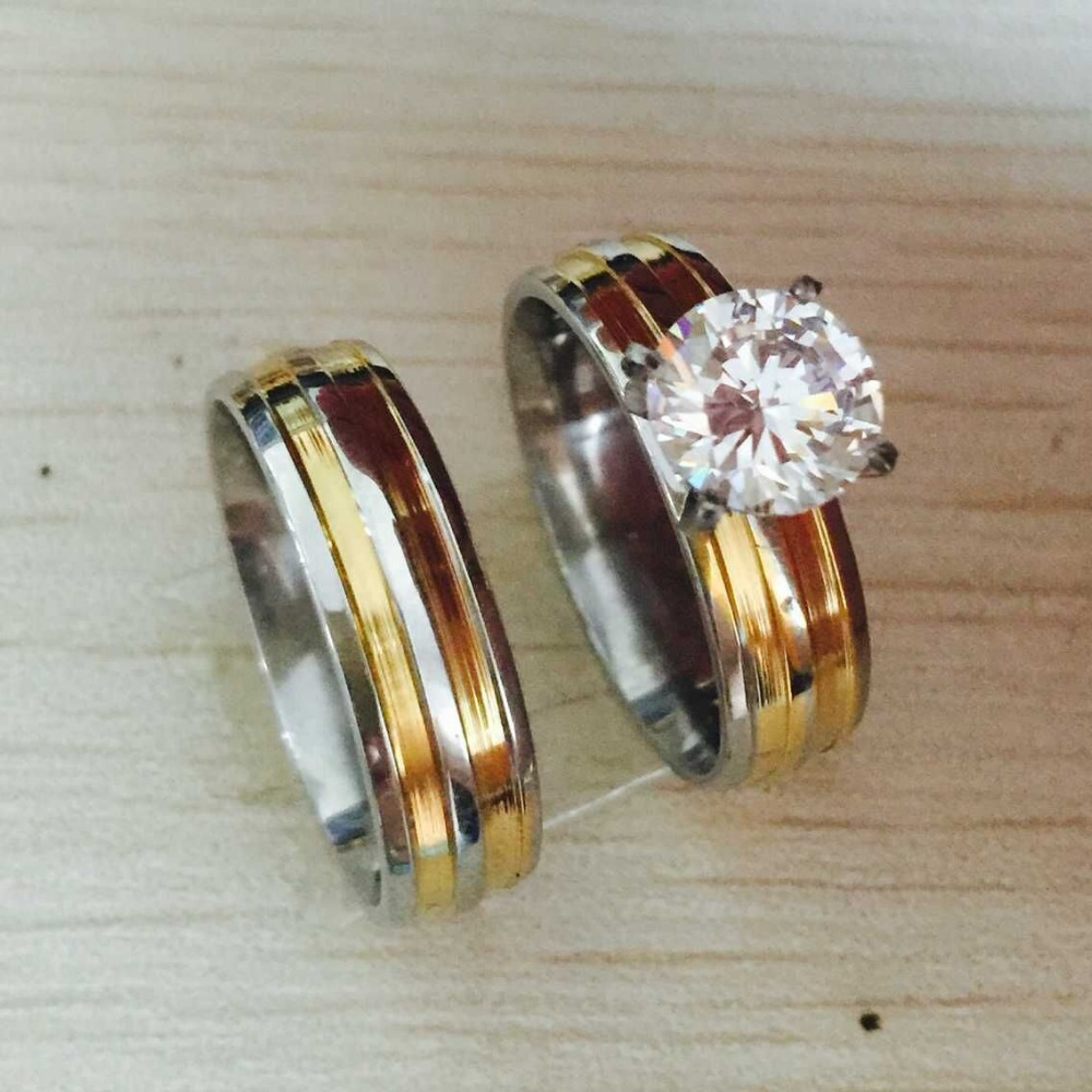 6MM Large CZ diamond 316L Stainless 18K gold silver filled  Love Couple Ring Wedding Rings promise pair Rings for men women