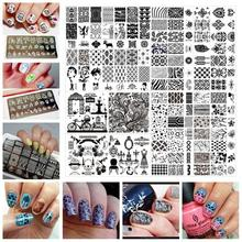 6*12cm Stainless Steel Nail Art Stamping Plates Geometric patterns  Monroe Madonna Sports Nails Template Stamp JH124